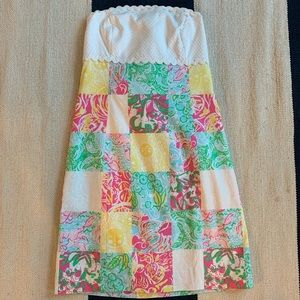 Lilly Pulitzer Classic Print Strapless Dress NWOT